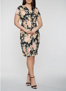 Plus Size Floral Short Sleeve Midi Dress - 0390074283574