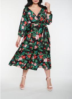 Plus Size Printed Faux Wrap Maxi Dress - 0390074283578