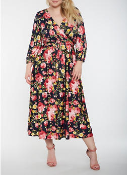 Plus Size Floral Faux Wrap Maxi Dress - 0390074283580