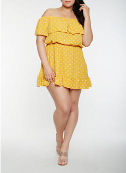 Plus Size Polka Dot Off the Shoulder Dress - 0390074283588