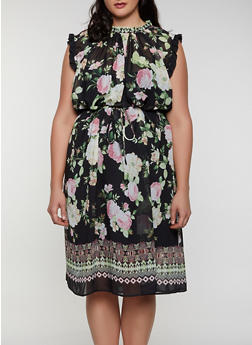 Plus Size Floral Border Print Shift Dress - 0390074284107