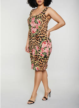 Plus Size Leopard Floral Print Tank Dress - 0390075179003