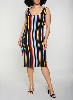 Plus Size Striped Soft Knit Tank Midi Dress - 0390075179015