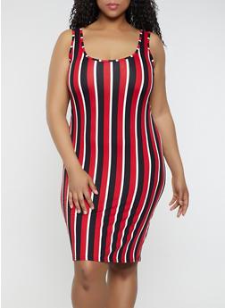 Plus Size Striped Tank Dress | 0390075179036 - 0390075179036