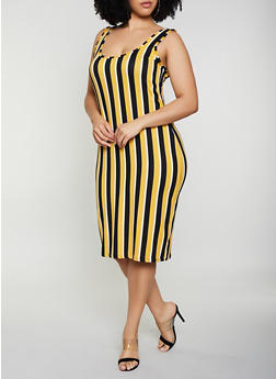 Plus Size Striped Tank Dress | 0390075179036 - 0390075179036