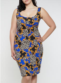 Plus Size Leopard Status Print Tank Dress - Multi - Size 1X - 0390075179094