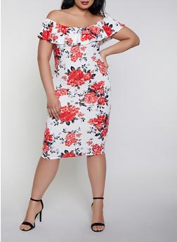 Plus Size Floral Off the Shoulder Dress   0390075179116 - 0390075179116