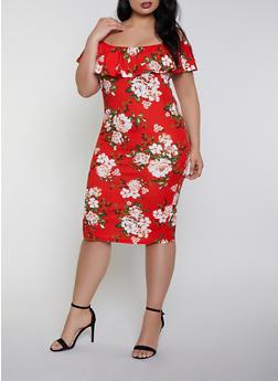 Plus Size Floral Off the Shoulder Dress | 0390075179116 - 0390075179116
