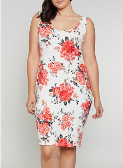 Plus Size Floral Tank Midi Dress - 0390075179138
