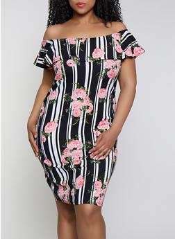 Plus Size Floral Print Off the Shoulder Dress | 0390075179165 - 0390075179165
