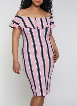 Plus Size Striped Off the Shoulder Dress | 0390075179166 - 0390075179166
