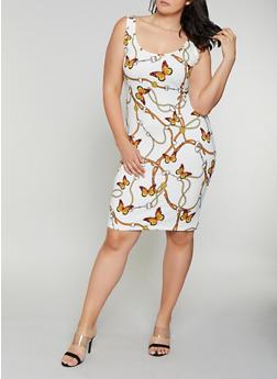 Plus Size Butterfly Chain Print Tank Dress - 0390075179170