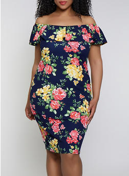 Plus Size Floral Off the Shoulder Dress | 0390075179172 - 0390075179172
