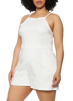 Plus Size Denim Cami Romper - 0392015050324