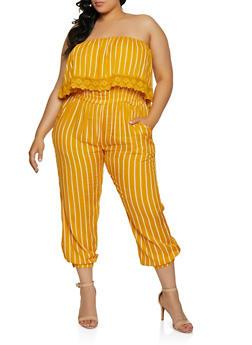 Plus Size Crochet Detail Striped Jumpsuit - 0392038340321