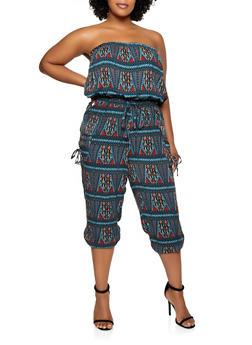 Plus Size Printed Tube Jumpsuit - 0392038340323