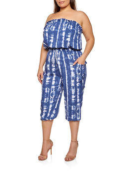 Plus Size Printed Tube Jumpsuit - 0392038340323