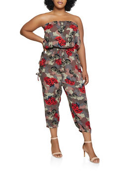 Plus Size Printed Tube Jumpsuit - MULTI COLOR - 0392038340323
