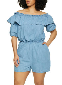 Plus Size Ruffled Off the Shoulder Denim Romper - 0392038340340