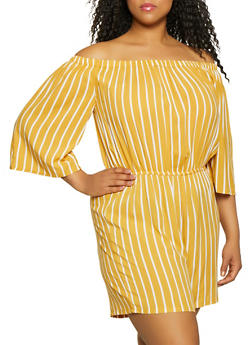 Plus Size Striped Off the Shoulder Romper | 0392038340351 - 0392038340351