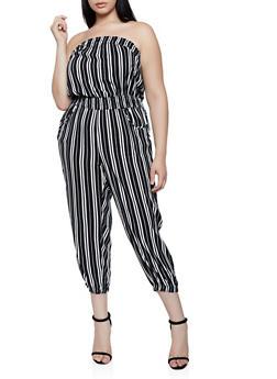 Plus Size Striped Lightweight Tube Jumpsuit - 0392038341320
