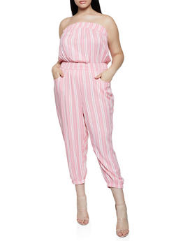 Plus Size Striped Lightweight Tube Jumpsuit - 0392038341320