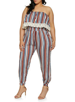 Plus Size Striped Crochet Trim Jumpsuit - 0392038341321