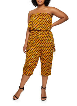 Plus Size Strapless Printed Jumpsuit - 0392038341323
