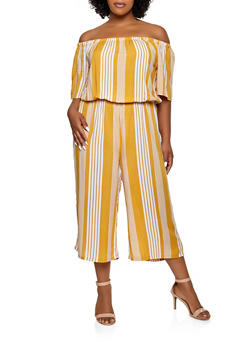 Plus Size Striped Off the Shoulder Wide Leg Jumpsuit - 0392038341325