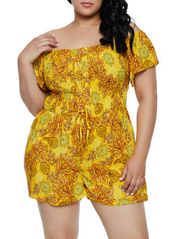 Plus Size Printed Lace Up Off the Shoulder Romper - 0392038341357