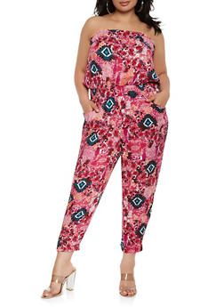 Plus Size Printed Strapless Jumpsuit - 0392038342303