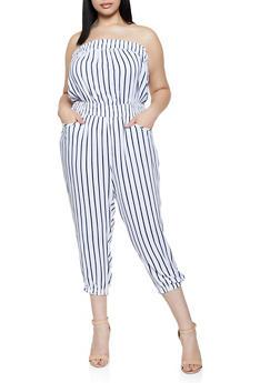 Plus Size Lightweight Striped Tube Jumpsuit - 0392038342320