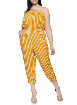 Plus Size Lightweight Striped Tube Jumpsuit - 0392038342320