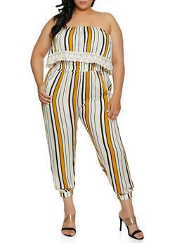 Plus Size Crochet Trim Striped Jumpsuit - 0392038342321
