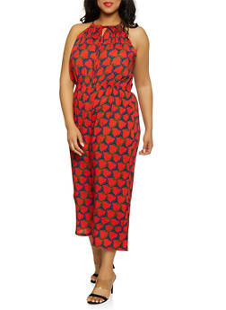 Plus Size Wide Leg Printed Jumpsuit - 0392038342322