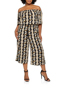 Plus Size Floral Wide Leg Off the Shoulder Jumpsuit - 0392038342325