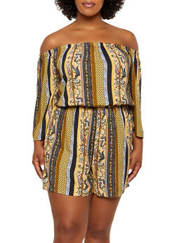 Plus Size Printed Off the Shoulder Romper | 0392038342351 - 0392038342351