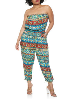 Plus Size Printed Strapless Jumpsuit - 0392038343303
