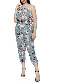 Plus Size Floral Striped Tube Jumpsuit - 0392038343320