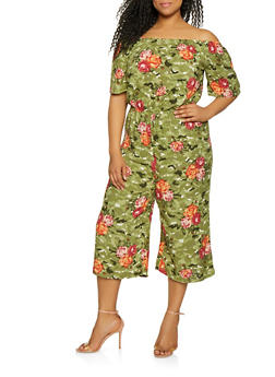 Plus Size Floral Off the Shoulder Cropped Jumpsuit - 0392038343325