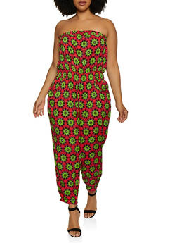 Plus Size Printed Tube Jumpsuit | 0392038344320 - 0392038344320