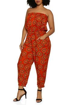 Plus Size Printed Tube Jumpsuit | 0392038344320 - 0392038344320
