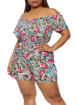 Plus Size Printed Lace Up Off the Shoulder Romper - 0392038344357