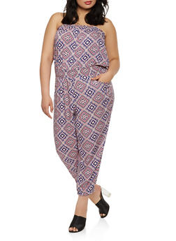 Plus Size Printed Strapless Jumpsuit - 0392038345303