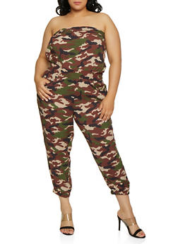 Plus Size Printed Tube Jumpsuit | 0392038345320 - OLIVE - 0392038345320