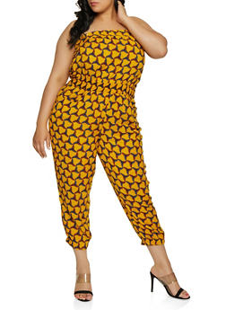 Plus Size Printed Tube Jumpsuit | 0392038345320 - 0392038345320