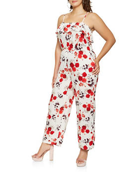 Plus Size Ruffle Printed Jumpsuit - 0392038347345