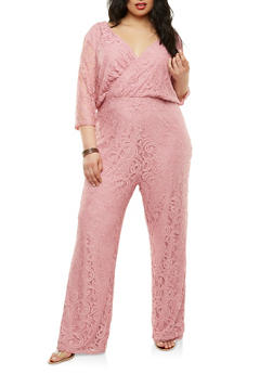 Plus Size Faux Wrap Lace Jumpsuit - 0392038348740