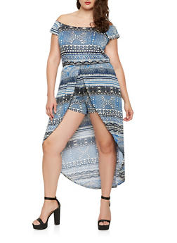 Plus Size Printed Off the Shoulder High Low Romper - 0392038348888