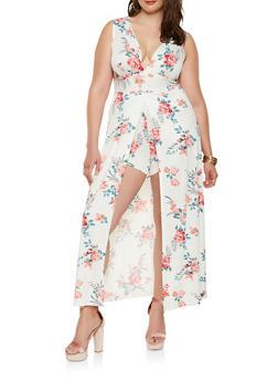 Plus Size Floral Maxi Romper - 0392038348889